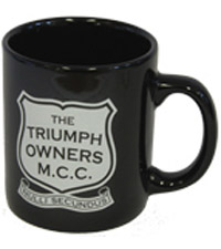 Coffee mug with Club and TOMCC Racing logos available in black or white